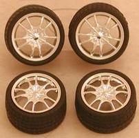 Pegasus Chrome M5s Rims w/Tires (4) Plastic Model Tire Wheel 1/24 Scale #1281