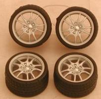Pegasus Silver M5s Rims w/Tires (4) Plastic Model Tire Wheel 1/24 Scale #1282