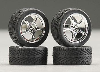 Pegasus Hobbies 19'' Alta's w/Tires Chrome (4) -- Plastic Model Tire Wheel -- 1/24 Scale -- #1284