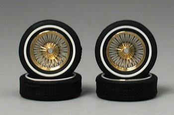 Gold D S Rims W Low Pro Whitewall Tires 4 Plastic Model Tire