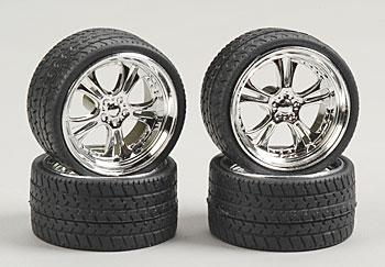 Pegasus Hobbies Phat Daddies w/Tires 23'' Chrome (4) -- Plastic Model Tire Wheel -- 1/24 Scale -- #2303