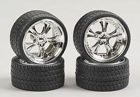 Pegasus Phat Daddies w/Tires 23 Chrome (4) Plastic Model Tire Wheel 1/24 Scale #2303