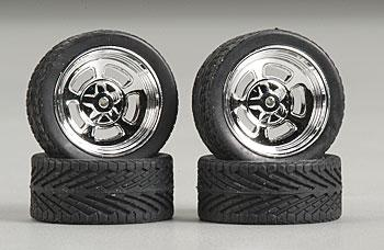 Pegasus Hobbies Holli's w/Tires 23'' Chrome (4) -- Plastic Model Tire Wheel -- 1/24 Scale -- #2305