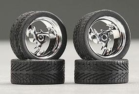 Pegasus 23 Lightning Chrome Wheels/Tires (4) Plastic Model Tire Wheel 1/24 Scale #2307