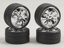 Pegasus 23 Got Money Chrome Spinner Wheels w/Tires (4) Plastic Model Tire Wheel 1/24 Scale #2361