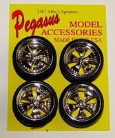 Pegasus Albas Chrome Spinning Centers Rims w/Tires (4) Plastic Model Tire Wheel 1/24 Scale #2367