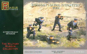 Pegasus Russian Naval Infantry WWII (12) Plastic Model Military Figure Kit 1/32 Scale #3203