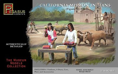 Pegasus Hobbies California Mission Indians Set #2 -- Plastic Model Cowboys and Indians -- 1/48 Scale -- #7005