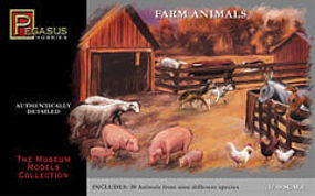 Pegasus Farm Animals (30) Plastic Model Diorama 1/48 Scale #7006