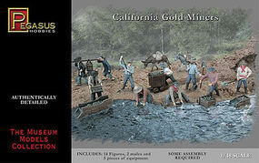 Pegasus California Gold Miners (14) Plastic Model Cowboy and Indian 1/48 Scale #7007
