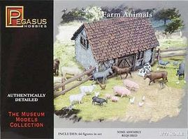 Pegasus Farm Animals (64) Plastic Model Cowboy and Indian 1/72 Scale #7052