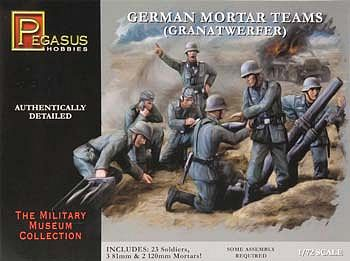Pegasus Hobbies German Mortar Set (23) -- Plastic Model Military Figure -- 1/72 Scale -- #7204
