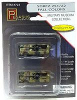 Pegasus SdKfz 251/22 Halftrack (2) (Assembled) Plastic Model Military Vehicle 1/144 Scale #723