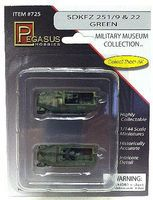 Pegasus SdKfz 251/9 & 22 Halftrack (2) (Assembled) Plastic Model Military Vehicle 1/144 Scale #725