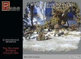 Pegasus Russian Infantry Greatcoats WWII (40) Plastic Model Military Figure 1/72 Scale #7271