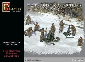 Pegasus Russian Mortar Teams Greatcoats WWII (24) Plastic Model Military Figure 1/72 Scale #7273