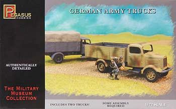Pegasus Hobbies German Army Trucks (2) -- Plastic Model Military Vehicle Kit -- 1/72 Scale -- #7610