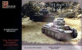 Pegasus Panzer 38t Tank (2) (Snap) Plastic Model Military Vehicle Kit 1/72 Scale #7620