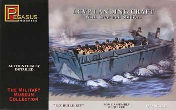Pegasus Hobbies LCVP Landing Craft w/Soldiers -- Plastic Model Military Ship Kit -- 1/72 Scale -- #7650