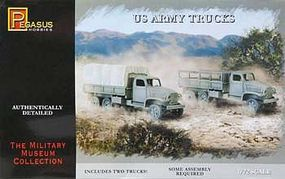 Pegasus US Army Trucks (2) Plastic Model Military Vehicle Kit 1/72 Scale #7651