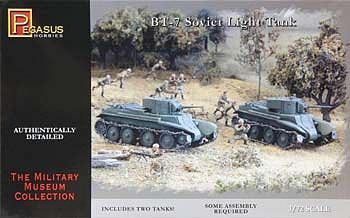 Pegasus Hobbies BT-7 Light Tanks (2) -- Plastic Model Military Vehicle Kit -- 1/72 Scale -- #7673