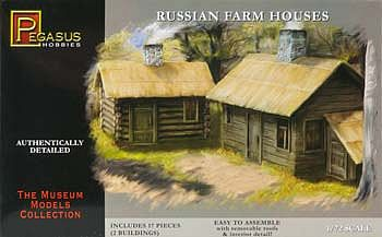Pegasus Hobbies Russian Farm Houses (2) -- Plastic Model Military Diorama Kit -- 1/72 Scale -- #7702