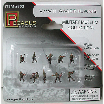 Pegasus Hobbies American Infantry WWII (10) (Painted) -- Plastic Model Military Figure -- 1/144 Scale -- #852