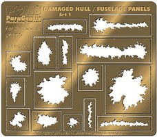 Paragraphix Various Sizes Damaged Hull, Fuselage Panels Photo-Etch Set (15 different)