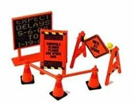Phoenix-Toys Road Work Warning Signs, Cones, Barrier Bars Set Plastic Model Diorama 1/24 #16058