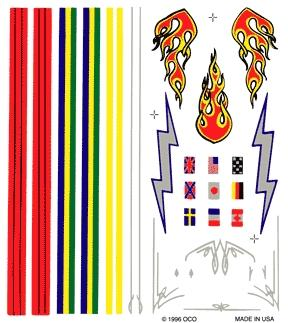 Pine Car Pinewood Derby Stripe & Flame Decal -- Pinewood Derby Decal and Finishing -- #p307