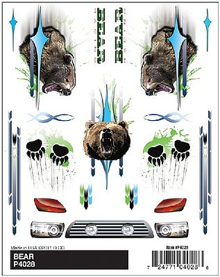 Pine Car PineCar(R) Dry Transfer Decals - Bear -- Pinewood Derby Decal and Finishing -- #p4028