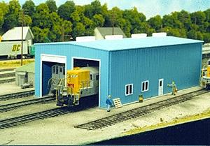 Pike Stuff Modern Single or Double Stall Engine House Kit -- HO Scale Model Railroad Building -- #8