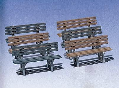 Pola Benches (3 Green & 3 Brown) -- G Scale Model Railroad Building Accessory -- #330979