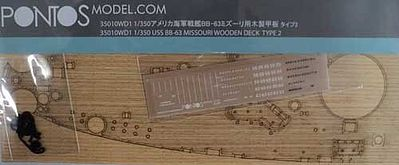 Pontos Model USS Missouri BB63 Type 2 Wood Deck -- Plastic Model Ship Accessory -- 1/350 Scale -- #35010