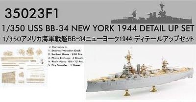 Pontos Model USS New York BB34 1944 Detail Set -- Plastic Model Ship Accessory -- 1/350 Scale -- #350231
