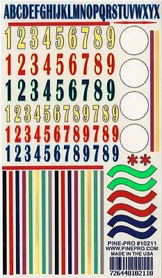 Pine-Pro Numbers/Stripes Decal 5''x8'' -- Pinewood Derby Decal and Finishing -- #10211