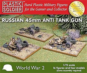 Plastic Soldier WWII Russian 45mm Anti-Tank Gun (4) & Crew (16) -- Plastic Model Weapon -- 1/72 Scale -- #7207