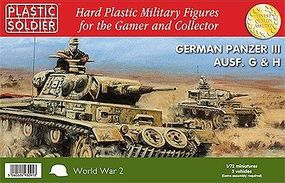 Plastic-Soldier WWII German Panzer III G/H Tank (3) Plastic Model Tank Kit 1/72 Scale #7216