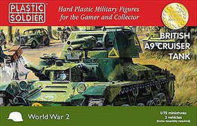 Plastic-Soldier British A9 Cruiser Tank (3) & Crew Plastic Model Military Kit 1/72 Scale #7233