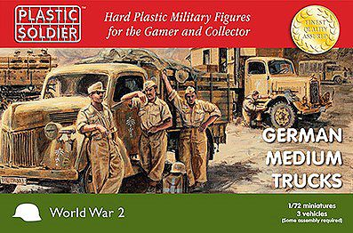 Plastic Soldier WWII German Medium Trucks (3) -- Plastic Model Military Vehicle Kit -- 1/72 Scale -- #7235