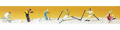 Preiser Kg Downhill Skiers (6) -- Model Railroad Figures -- HO Scale -- #10313