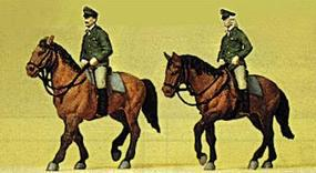 Preiser Police Mounted On Horseback German Officers Model Railroad Figures HO Scale #10390
