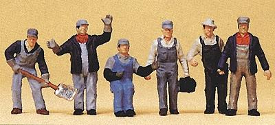 Preiser Kg US Railroad Transition Era Freight Train Crew (6) -- Model Railroad Figures -- HO Scale -- #10453