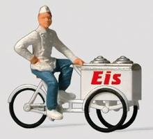 Preiser Ice Cream Man with Cart Model Railroad Figure HO Scale #28075