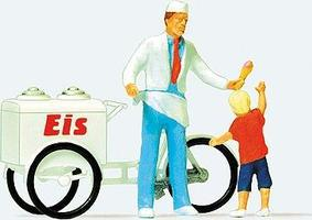 Preiser Ice Cream Man & Child Model Railroad Figure HO Scale #28126