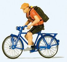 Preiser Bicycle Courier with Bike Model Railroad Figure HO Scale #28175