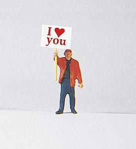 Preiser Kg Man w/I Love You Signboard -- Model Railroad Figure -- HO Scale -- #29039