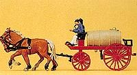 Preiser Kg Horse-Drawn Fire Water Wagon -- HO Scale Model Railroad Vehicle -- #30426
