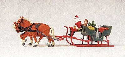 Preiser Kg Horse Drawn Sleigh with Father Christmas & Parcels -- Model Railroad Figure -- HO Scale -- #30448