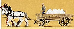 Preiser Kg Horse-Drawn Cargo Wagon with Horses -- HO Scale Model Railroad Vehicle -- #30470